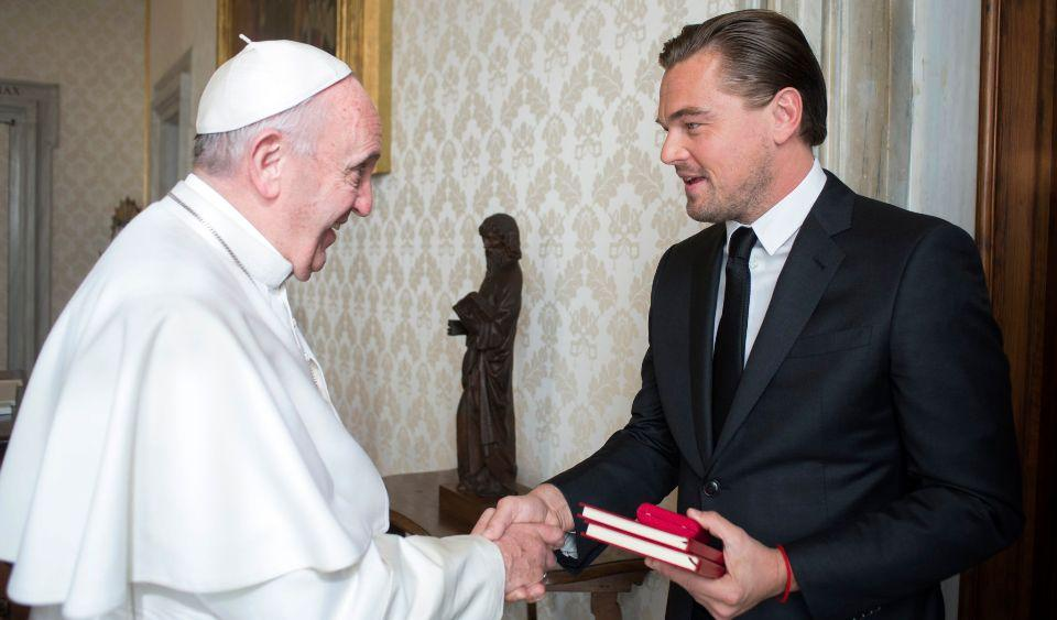 "28 Jan 2016, Rome, Italy --- Leonardo DiCaprio met with Pope Francis at the Vatican on January 28 2016 and was presented with leather-bound copies of the Pope's two encyclicals.The film star, a passionate environmentalist like Pope Francis, thanked the Pope in Italian for the meeting and kissed his ring. He offered Francis a book of works by the 15th-century Dutch painter Hieronymus Bosch, and pointed to a reproduction of a triptych that hung over his crib when he was a child. The triptych, ""The Garden of Earthly Delights"", shows the Garden of Eden on one side and the Last Judgment on the other and a landscape of bodies in the middle. DiCaprio also gave the Pope a cheque – from his charity, the Leonardo DiCaprio Foundation – to use for whichever charitable purpose he wished. CREDIT SHOULD READ ©L'OSSERVATORE ROMANO. RESTRICTIONS: EDITORIAL USE ONLY NO COMMERCIAL USAGE GRANTED. --- Image by © L'Osservatore Romano/L'Osservatore Romano/Corbis"