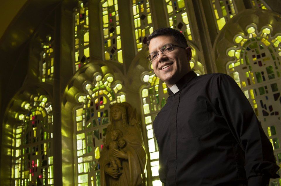 Jaime Maldonado-Aviles, a former neuroscientist at Yale, decided to become a priest at Catholic University's Theological College in Washington. MUST CREDIT: Washington Post photo by Linda Davidson.